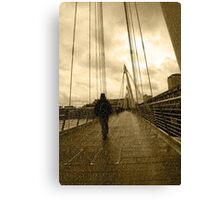 raining on london city bridge Canvas Print
