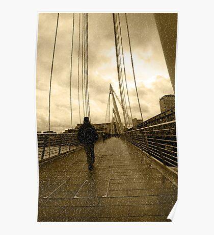 raining on london city bridge Poster