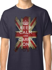 Vintage Keep Calm and Carry On and Union Jack Flag Classic T-Shirt