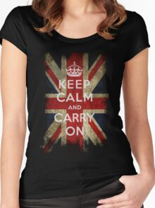 Vintage Keep Calm and Carry On and Union Jack Flag Women's Fitted Scoop T-Shirt