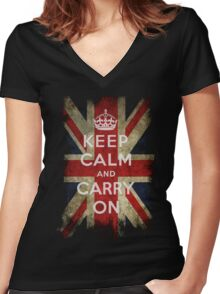 Vintage Keep Calm and Carry On and Union Jack Flag Women's Fitted V-Neck T-Shirt