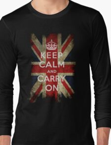 Vintage Keep Calm and Carry On and Union Jack Flag Long Sleeve T-Shirt
