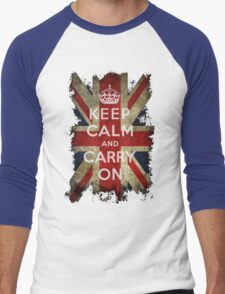 Vintage Keep Calm and Carry On and Union Jack Flag Men's Baseball ¾ T-Shirt