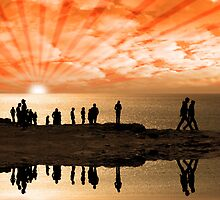 reflection of people on the cliff edge by morrbyte