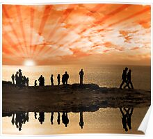 reflection of people on the cliff edge Poster