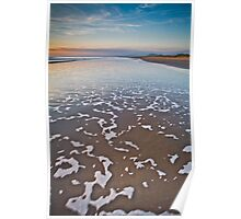 Wave Patterns on Harlech Beach at Sunset Poster