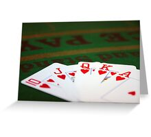 royal flush of hearts on felt Greeting Card