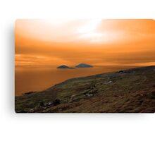 scarriff island view with red sky Canvas Print