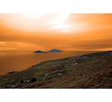 scarriff island view with red sky Photographic Print