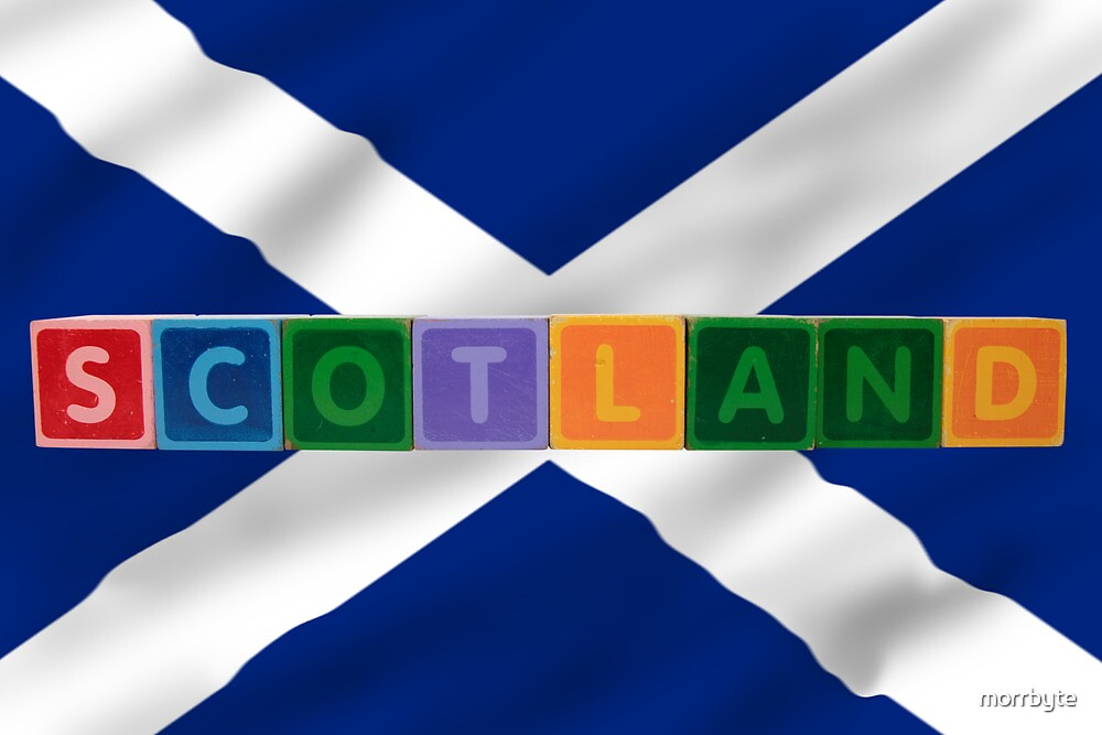 scotland and flag in toy block letters by morrbyte