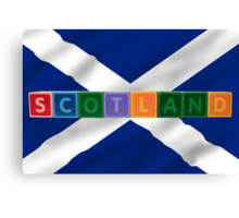 scotland and flag in toy block letters Canvas Print
