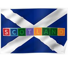 scotland and flag in toy block letters Poster