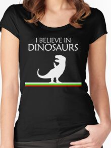 I Believe In Dinosaurs title artwork Women's Fitted Scoop T-Shirt