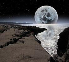 shimmering moon and boulders in rocky burren landscape by morrbyte