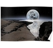 shimmering moon and boulders in rocky burren landscape Poster
