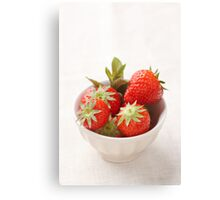 Strawberries in a bowl Canvas Print