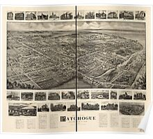Panoramic Maps Bird's-eye view of Patchogue Long Island NY Poster