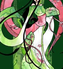 Geisha in Green with Koi and lotus Flowers Sticker
