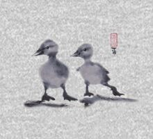 "print of original painting Japanese sumi-e ""Two duckling friends"" One Piece - Long Sleeve"