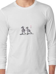 "print of original painting Japanese sumi-e ""Two duckling friends"" Long Sleeve T-Shirt"