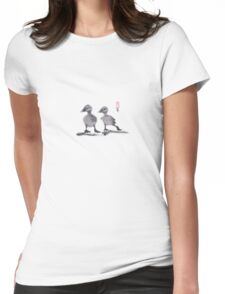 "print of original painting Japanese sumi-e ""Two duckling friends"" Womens Fitted T-Shirt"