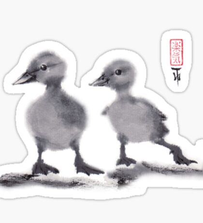 "print of original painting Japanese sumi-e ""Two duckling friends"" Sticker"