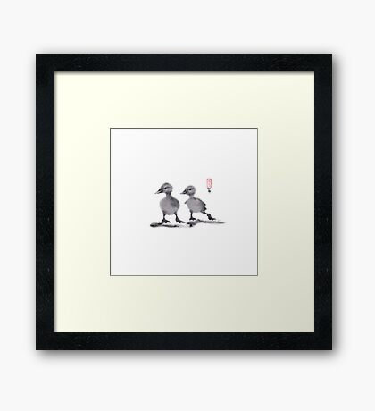 """print of original painting Japanese sumi-e """"Two duckling friends"""" Framed Print"""