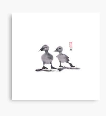 "print of original painting Japanese sumi-e ""Two duckling friends"" Canvas Print"