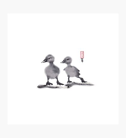 "print of original painting Japanese sumi-e ""Two duckling friends"" Photographic Print"