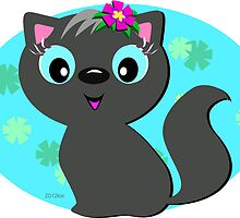 Cute Gray Cat with a Floral Background by TheBluePlanet