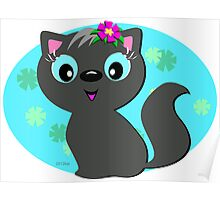 Cute Gray Cat with a Floral Background Poster