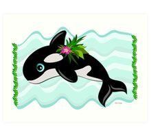 Orca Whale with a Flower Art Print