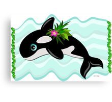 Orca Whale with a Flower Canvas Print