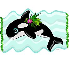 Orca Whale with a Flower Photographic Print