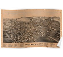 Panoramic Maps Cortland NY Poster