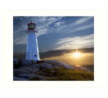 Sunset at Peggys Cove Lighthouse in Nova Scotia  Art Print