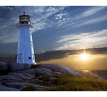 Sunset at Peggys Cove Lighthouse in Nova Scotia  Photographic Print
