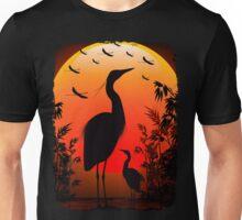 Heron Shape on Exotic Sunset Unisex T-Shirt