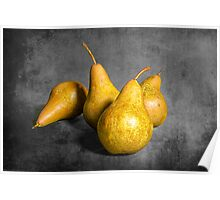 Four Pears on Gray  Poster