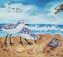 Sanderlings Snacking on the Beach by Jennifer Ingram