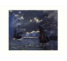 A Seascape, Shipping by Moonlight by Claude Monet Art Print