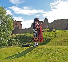 Piper at Urquhart Castle by kalaryder