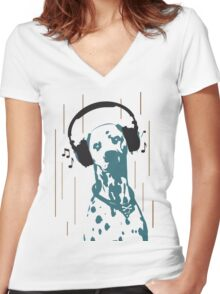 Dogmusic Women's Fitted V-Neck T-Shirt