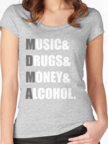 MDMA - Music & Drugs & Money & Alcohol. Women's Fitted Scoop T-Shirt