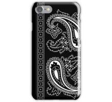 Black and White Paisley Bandana  iPhone Case/Skin