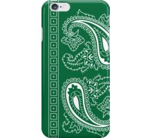 Dark Green and White Paisley Bandana  iPhone Case/Skin