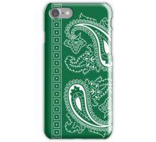 Dark Green and White Paisley Bandana  iPhone Case/Skin