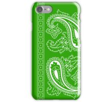 Light Green and White Paisley Bandana  iPhone Case/Skin