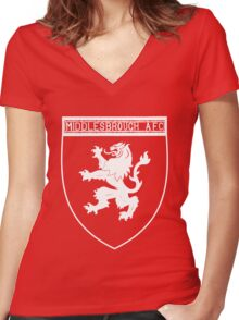 middlesbrough afc Women's Fitted V-Neck T-Shirt