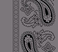 Gray and Black Paisley Bandana  by ShowYourPRIDE
